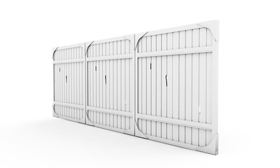 White fence over background. 3d rendered image