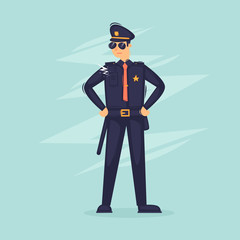 Police officer. Flat vector illustration in cartoon style.