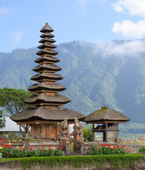 Two spires of the floating Pura Bratan hindu temple on Lake Bratan, Bedugul, Bali, Indonesia.