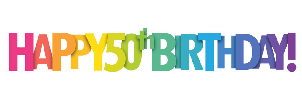 HAPPY 50th BIRTHDAY colorful letters banner