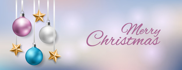 Christmas horizontal banner with pastel color Christmas balls and gold star hanged. Vector illustration for invitation, greeting or other design template