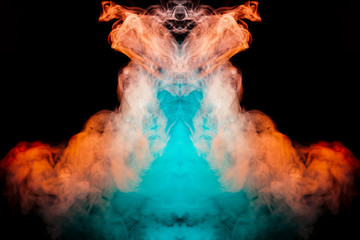 Multicolored curling smoke rising upwards in a pillar, red blue vapor twisting into abstract shapes and patterns on a black background, repeating the movement of waves and a chemical substance.