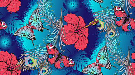 Pattern of peacock feathers, leaves and butterflies. Vector illustration. Suitable for fabric, wrapping paper and the like