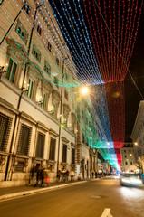 Via dei Condotti with Christmas lights in Rome
