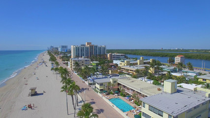 Aerial picture of Hollywood beach. Florida, USA