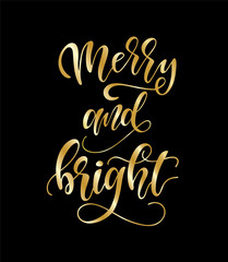 Hand sketched Merry and Bright typography lettering poster.