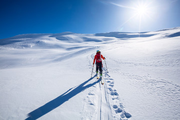 Wall Mural -  Ski Touring in mountains.