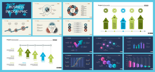 Set of analysis or management concept infographic charts. Business diagrams for presentation slide templates. For corporate report, advertising, banner and brochure design.