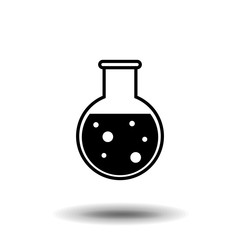 Florence flask with water solution icon. Science lab concept, simple flat design. Isolate on white background.