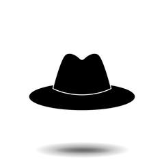 cowboy hat icon, vector cowboy hat silhouette, retro western fashion hat illustration