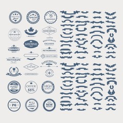 badge and ribbon collection , vintage logo design vector