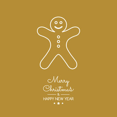 Christmas greetings with hand drawn gingerbread cookie. Vector.