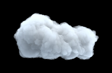 3d rendering of a white bulky cumulus cloud on a black background. Fototapete