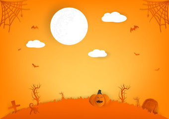 Halloween paper cut, pumpkin, spider and cat cartoon characters with full moon, autumn celebration party abstract background vector illustration