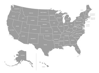 United States of America Vector Grey Map