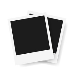 Two square photo frame. Polaroid Mockup