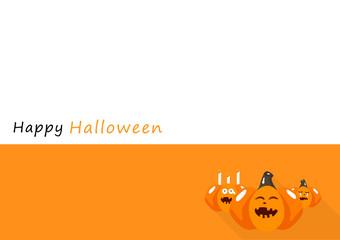 Happy Halloween card, pumpkin cartoon character invitation poster flat long shadow design background vector illustration