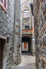 Narrow alley in an old neighborhood