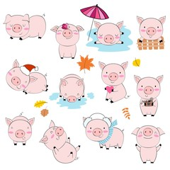 Vector set of cartoon pink pigs in various poses and different emotions.