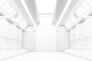 Futuristic tunnel with light. White Spaceship corridor interior view.Future background, business, sci-fi or science concept. 3D Rendering.