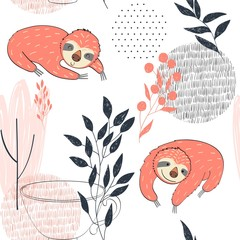 Seamless pattern. Vector hand drawn illustration with funny sloths.