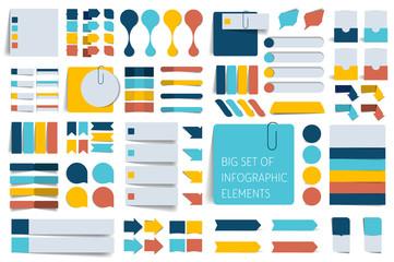 Infographics elements. Big set of flat reminder stickers.