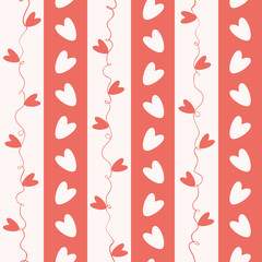 Sweet coral and white doodle hearts seamless vector pattern on geometric striped background. Great for Valentine's Day,gifts and decor for girls, giftwrap, scrapbooking and commercial projects.