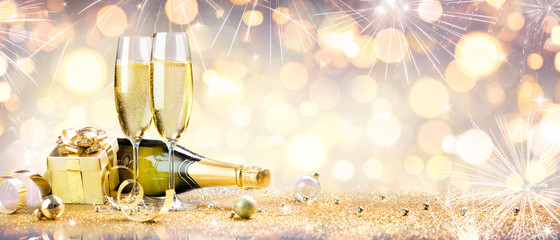 Wall Mural - New Year Celebration With Champagne And Shiny Decoration
