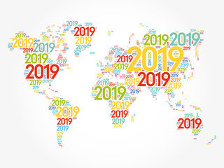 Door stickers World Map 2019 Happy New Year, in shape of World Map typography, word cloud collage concept