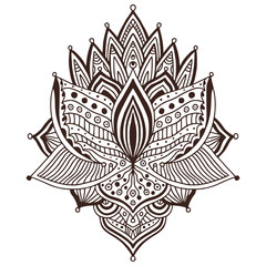 Ornamental Tattoo art design. Carpet ornament pattern. Vector for adult coloring page. Henna tattoo print.