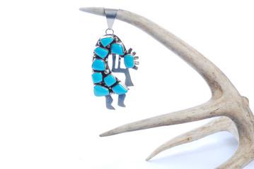 Turquoise Kokopelli Hanging from Deer Antler