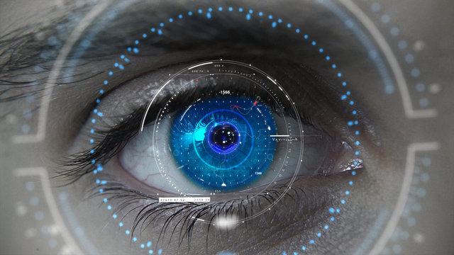 Macro blue neon futuristic HUD eye plan