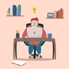 vector illustration of human working on laptop