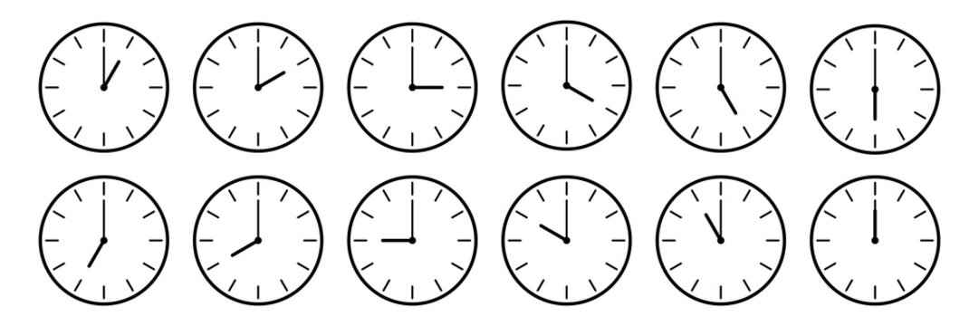 horizontal set of analog clock icon notifying each hour isolated on white,vector illustration
