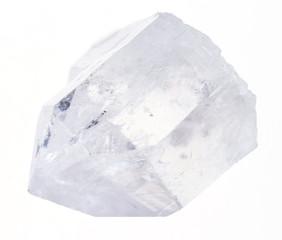 raw rock crystal (clear quartz) on white