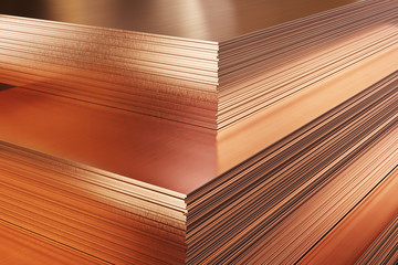 Copper metal in warehouse, stack of copper plates. 3d illustration.