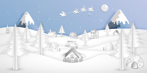 Paper art, cut and digital craft style of Santa Claus on Sleigh and Reindeer over village in the merry christmas night and  happy new year 2019 as holiday and x'mas day concept. vector illustration.