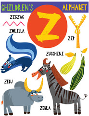 Letter Z.Cute children's alphabet with adorable animals and other things.Poster for kids learning English vocabulary.Cartoon vector illustration.