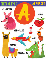 Letter A.Cute children's alphabet with adorable animals and other things.Poster for kids learning English vocabulary.Cartoon vector illustration.
