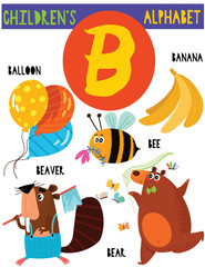 Letter B.Cute children's alphabet with adorable animals and other things.Poster for kids learning English vocabulary.Cartoon vector illustration.