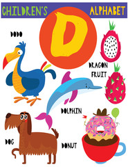 Letter D.Cute children's alphabet with adorable animals and other things.Poster for kids learning English vocabulary.Cartoon vector illustration.