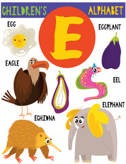 Letter E.Cute children's alphabet with adorable animals and other things.Poster for kids learning English vocabulary.Cartoon vector illustration.