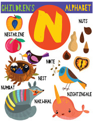 Letter N.Cute children's alphabet with adorable animals and other things.Poster for kids learning English vocabulary.Cartoon vector illustration.
