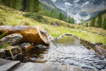Trinkwasserbrunnen mit frsichem Quellwasser auf einer Alm