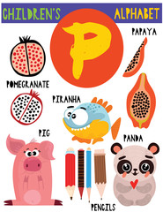 Letter P.Cute children's alphabet with adorable animals and other things.Poster for kids learning English vocabulary.Cartoon vector illustration.