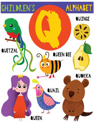 Letter Q.Cute children's alphabet with adorable animals and other things.Poster for kids learning English vocabulary.Cartoon vector illustration.