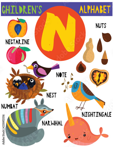 Letter N.Cute children's alphabet with adorable animals and other