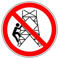 srr493 SignRoundRed - german - Verbotszeichen: Strommast - Nicht hochsteigen / klettern / Hochspannung (Freileitungsmast) - english - prohibition sign - do not climb - high voltage - red xxl - g6853