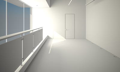 Modern light empty loft room with white wall and wooden floor 3D Render illustration template composition
