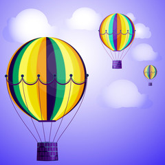 Large colored balloons soar against the bright sky and clouds. Vector illustration for your design.
